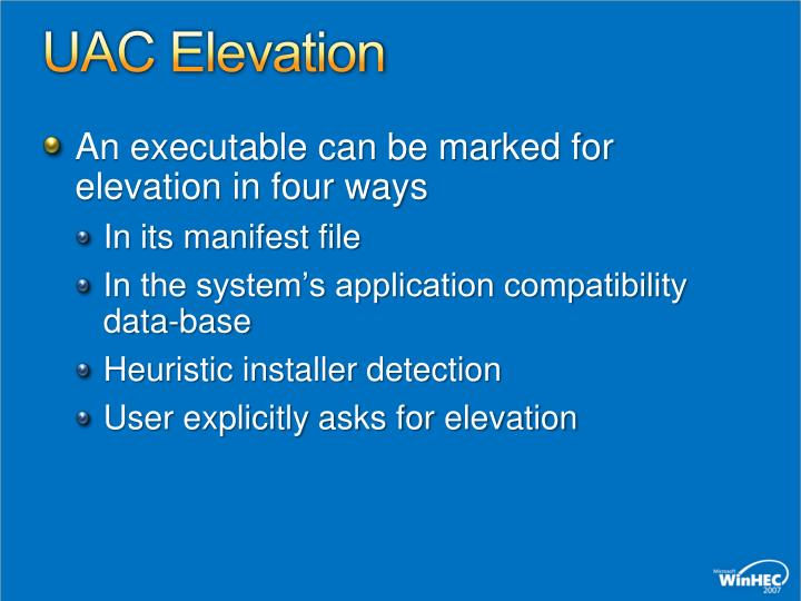 UAC Elevation