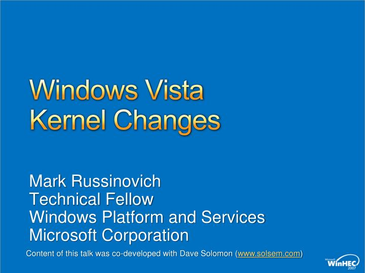 Windows vista kernel changes