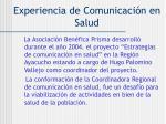 experiencia de comunicaci n en salud