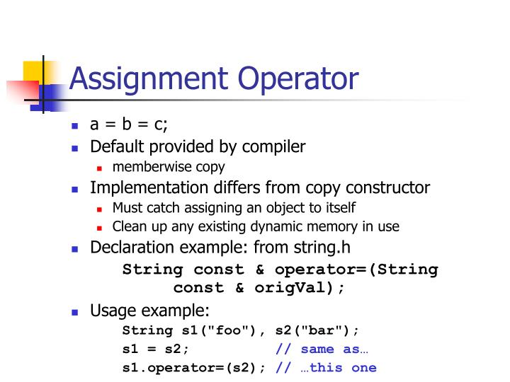 Assignment Operator