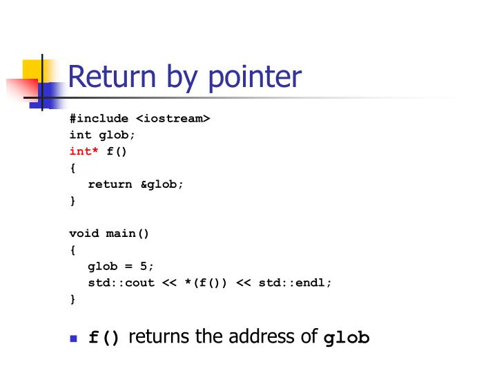 Return by pointer