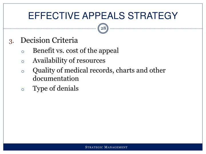 Effective Appeals Strategy