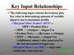 key input relationships
