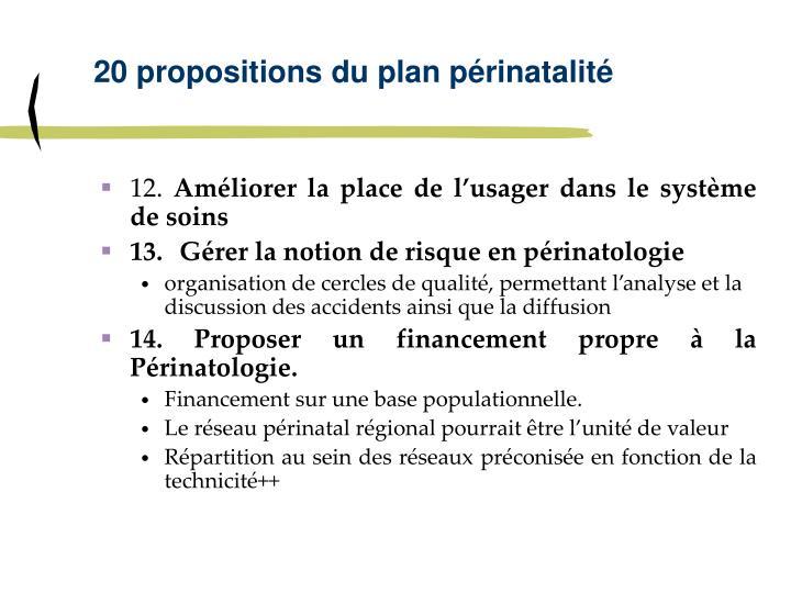 20 propositions du plan périnatalité