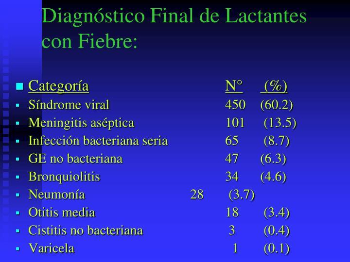 Diagnóstico Final de Lactantes