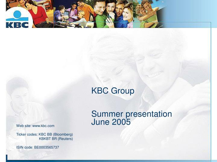 kbc group summer presentation june 2005 n.