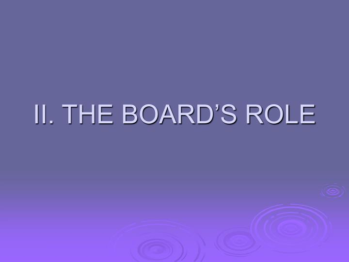 II. THE BOARD'S ROLE