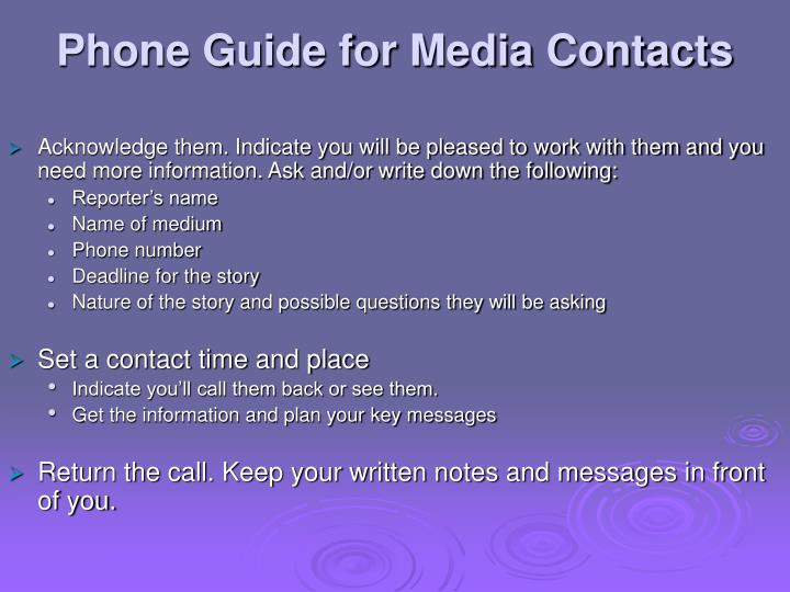 Phone Guide for Media Contacts