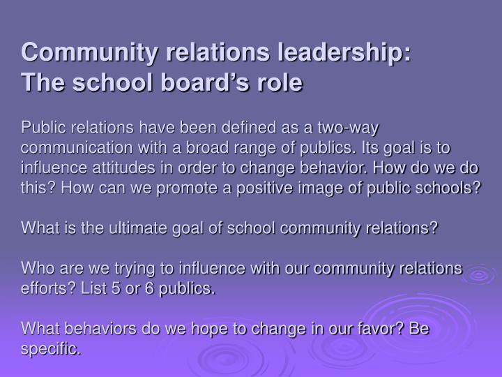 Community relations leadership: