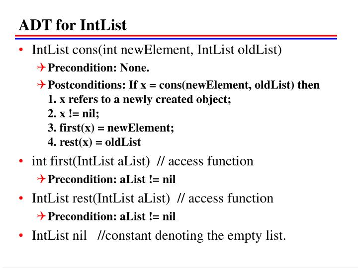 ADT for IntList
