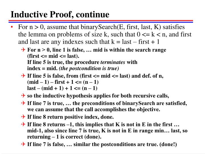 Inductive Proof, continue