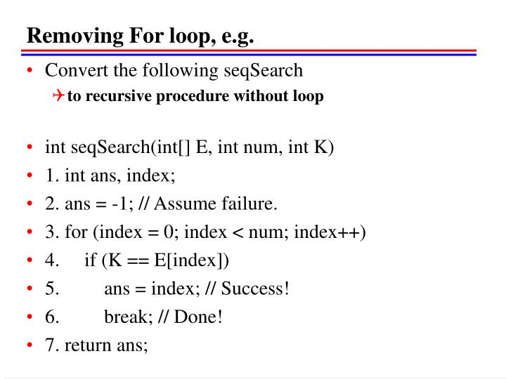 Removing For loop, e.g.