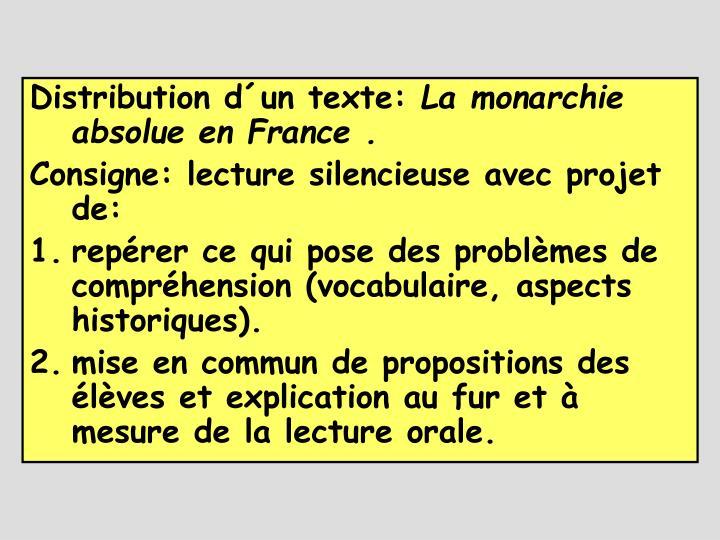 Distribution d´un texte: