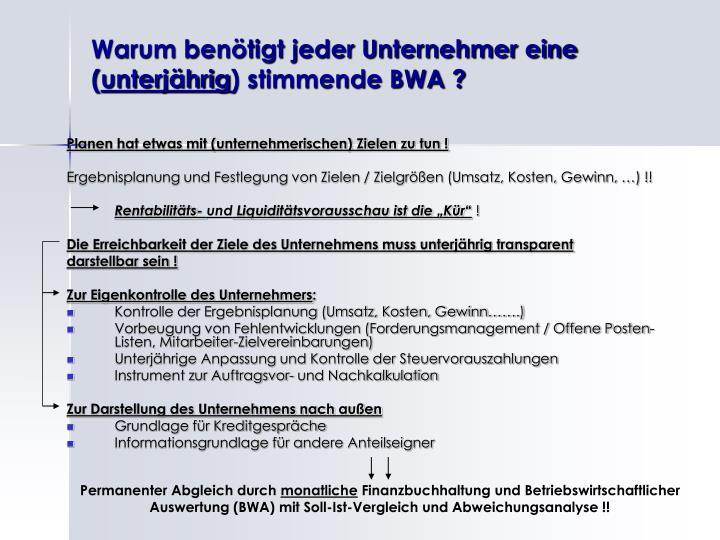 Warum ben tigt jeder unternehmer eine unterj hrig stimmende bwa