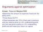 arguments against optimization2