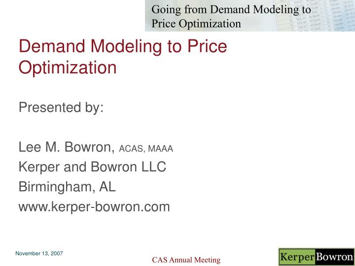 demand modeling to price optimization n.