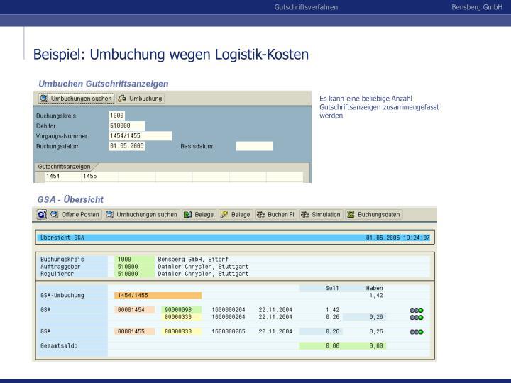 Beispiel: Umbuchung wegen Logistik-Kosten