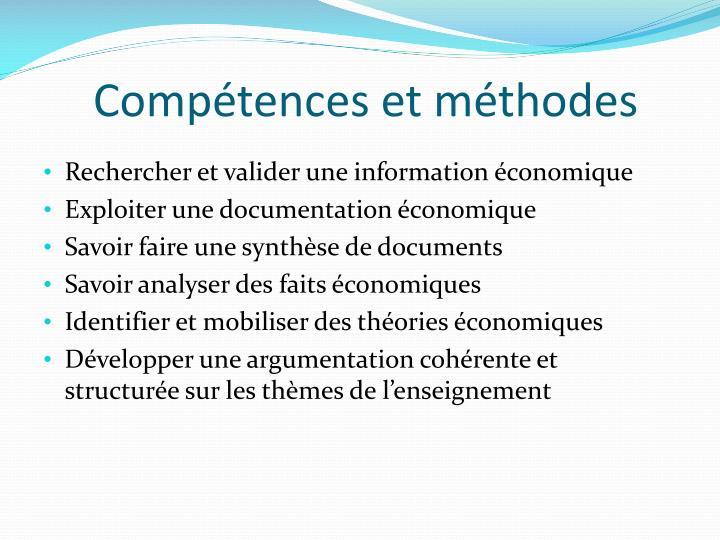 Compétences et méthodes