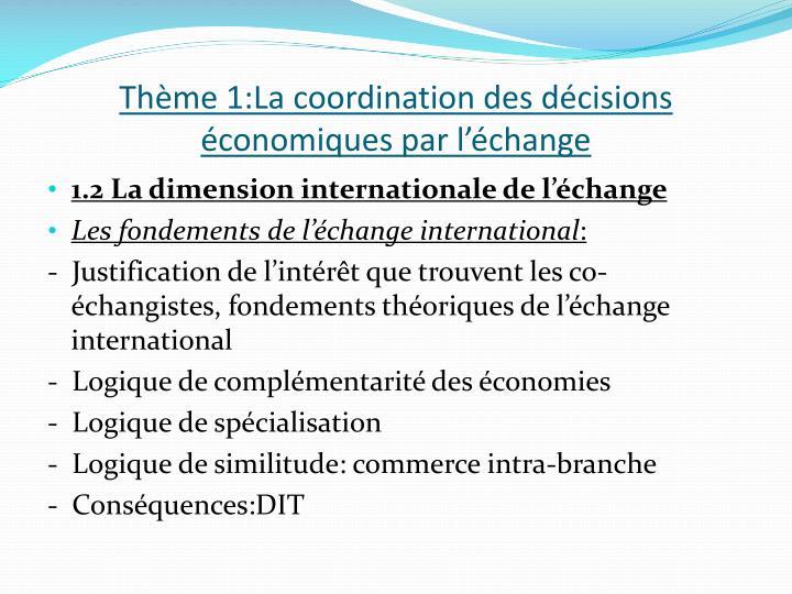 Thème 1:La coordination des décisions économiques par l'échange