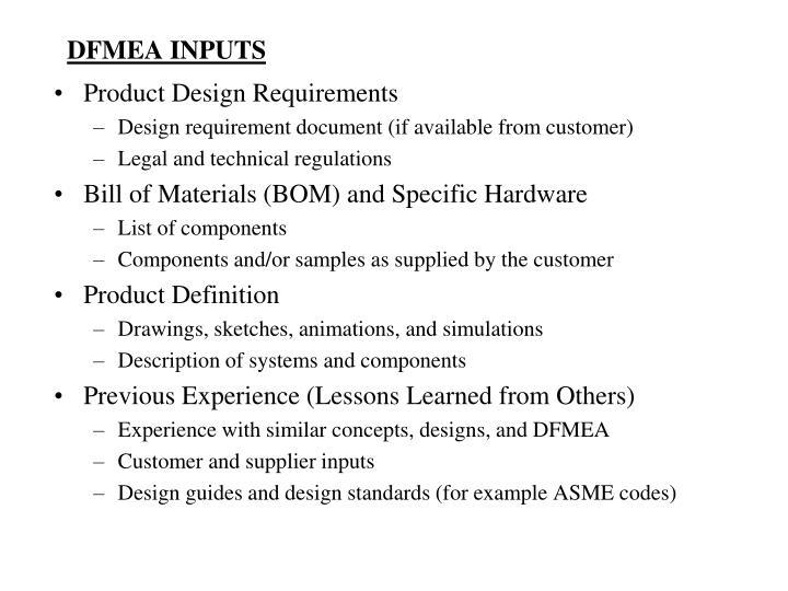 Dfmea inputs