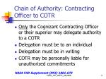 chain of authority contracting officer to cotr