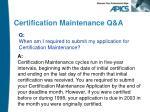 certification maintenance q a1