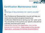 certification maintenance q a6