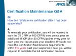 certification maintenance q a9