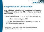 suspension of certification