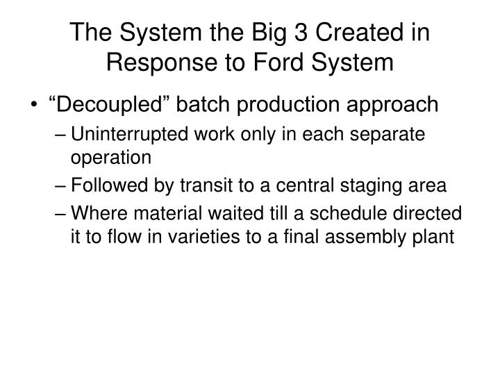 The System the Big 3 Created in Response to Ford System