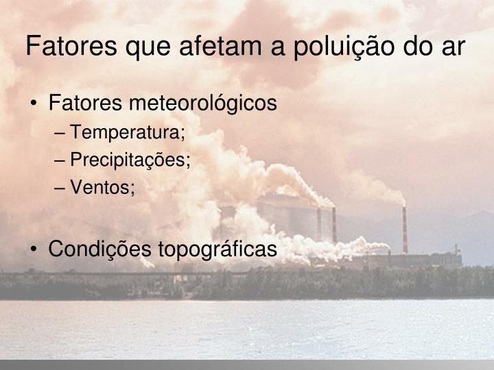 Fatores que afetam a poluição do ar