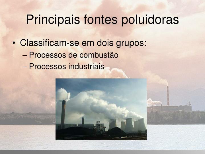 Principais fontes poluidoras