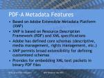 pdf a metadata features