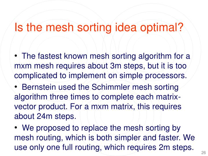 Is the mesh sorting idea optimal?