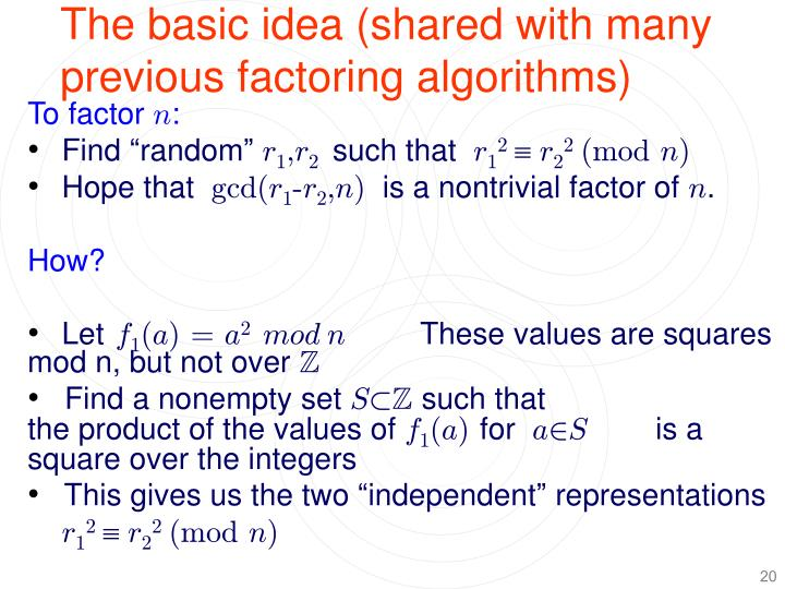 The basic idea (shared with many previous factoring algorithms)