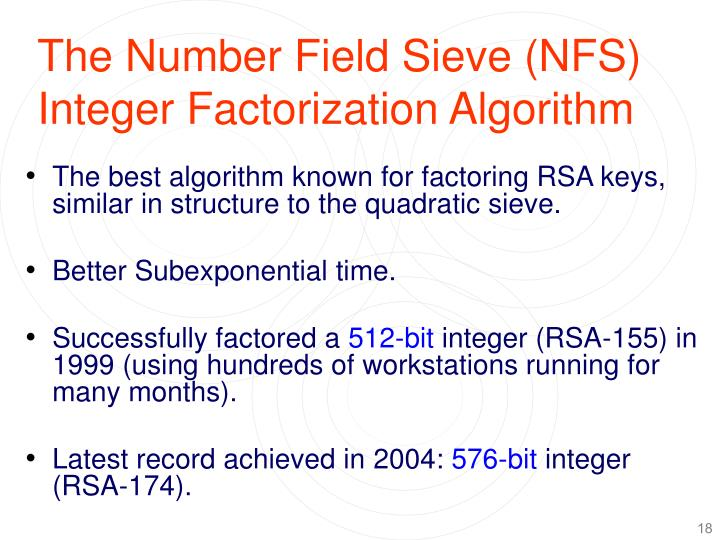 The Number Field Sieve (NFS) Integer Factorization Algorithm