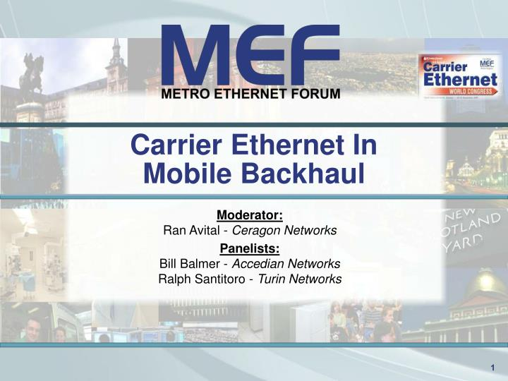 carrier ethernet in mobile backhaul n.