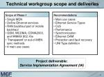 technical workgroup scope and deliveries