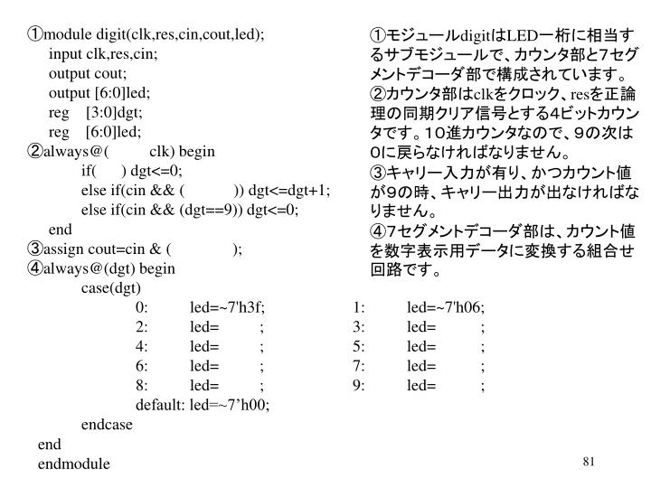①module digit(clk,res,cin,cout,led);