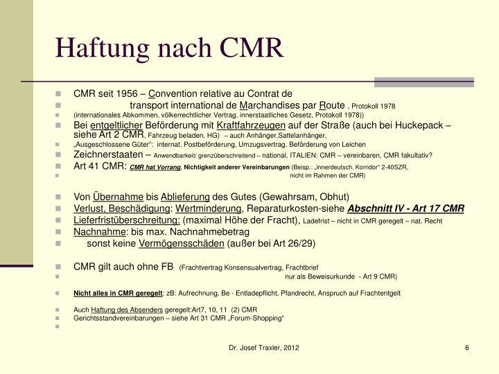 Haftung nach CMR