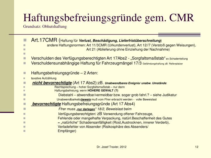 Haftungsbefreiungsgründe gem. CMR