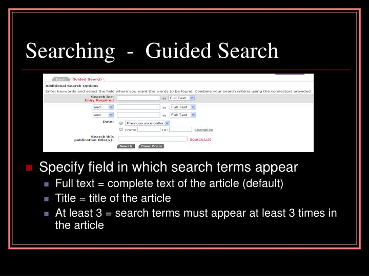 Searching  -  Guided Search