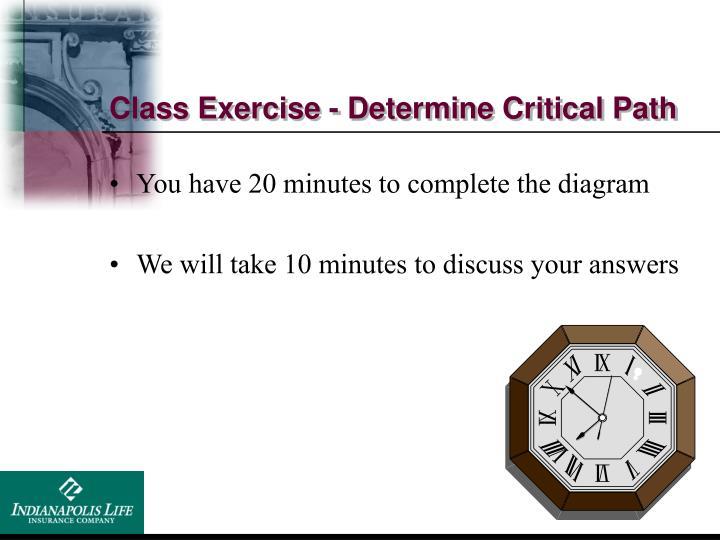 Class Exercise - Determine Critical Path