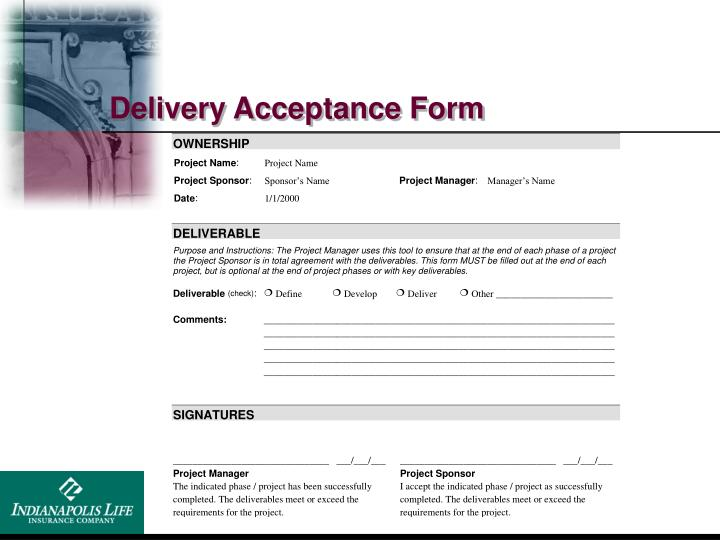 Delivery Acceptance Form
