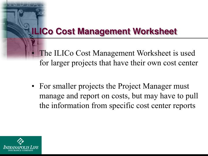 ILICo Cost Management Worksheet