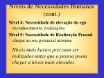 n veis de necessidades humanas cont