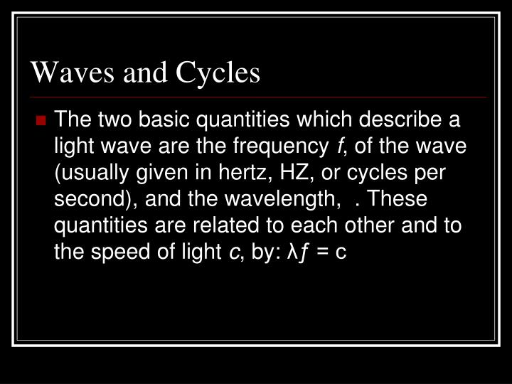 Waves and Cycles