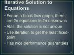 iterative solution to equations