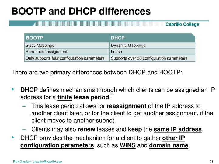 BOOTP and DHCP differences