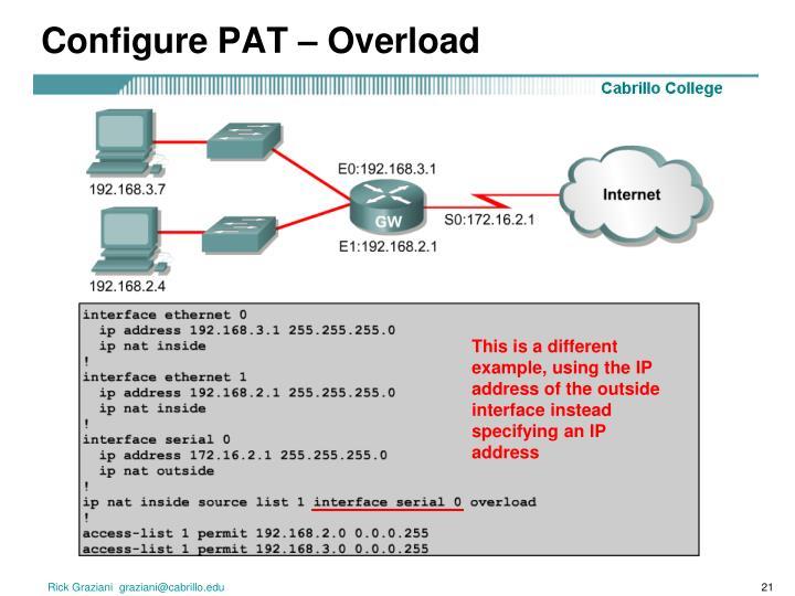 Configure PAT – Overload